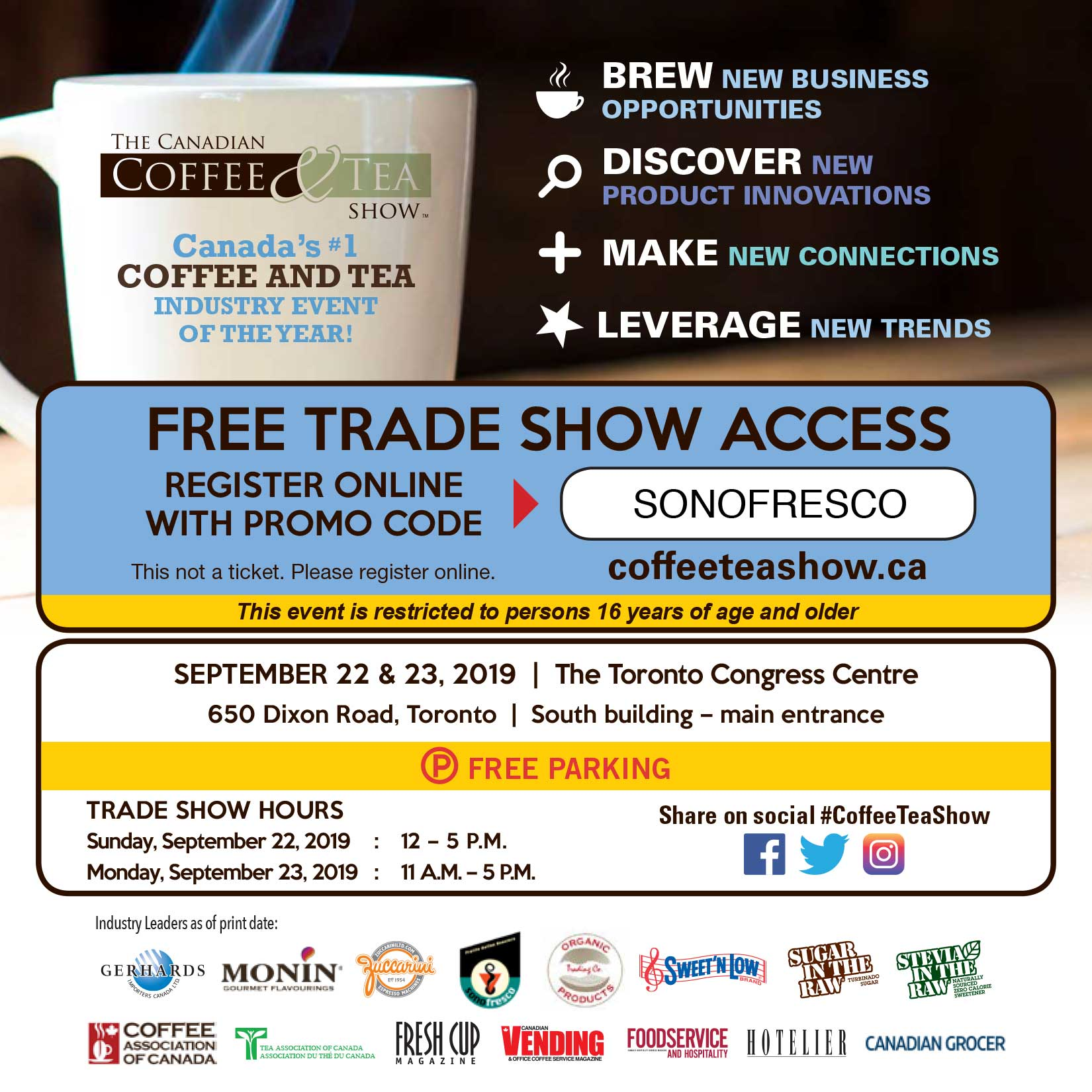 CCTS19 Postcard SONOFRESCO 2  Visit us at the Coffee & Tea Show in Toronto!