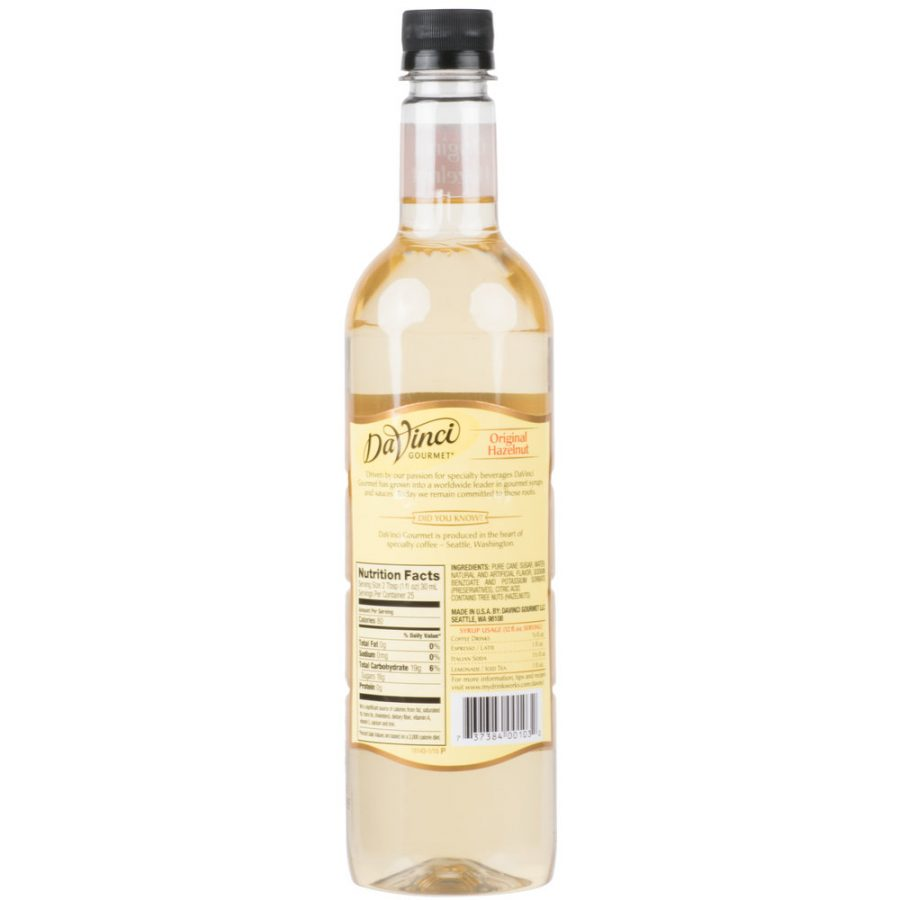 syrup hazelnut davinci 750ml 2 900x900  DaVinci Gourmet 750 mL Classic Hazelnut Flavoring Syrup