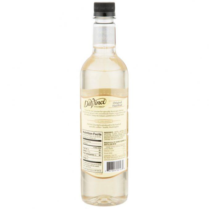 DaVinci Gourmet Sugar Free Hazelnut Flavoring Syrup - 750 mL