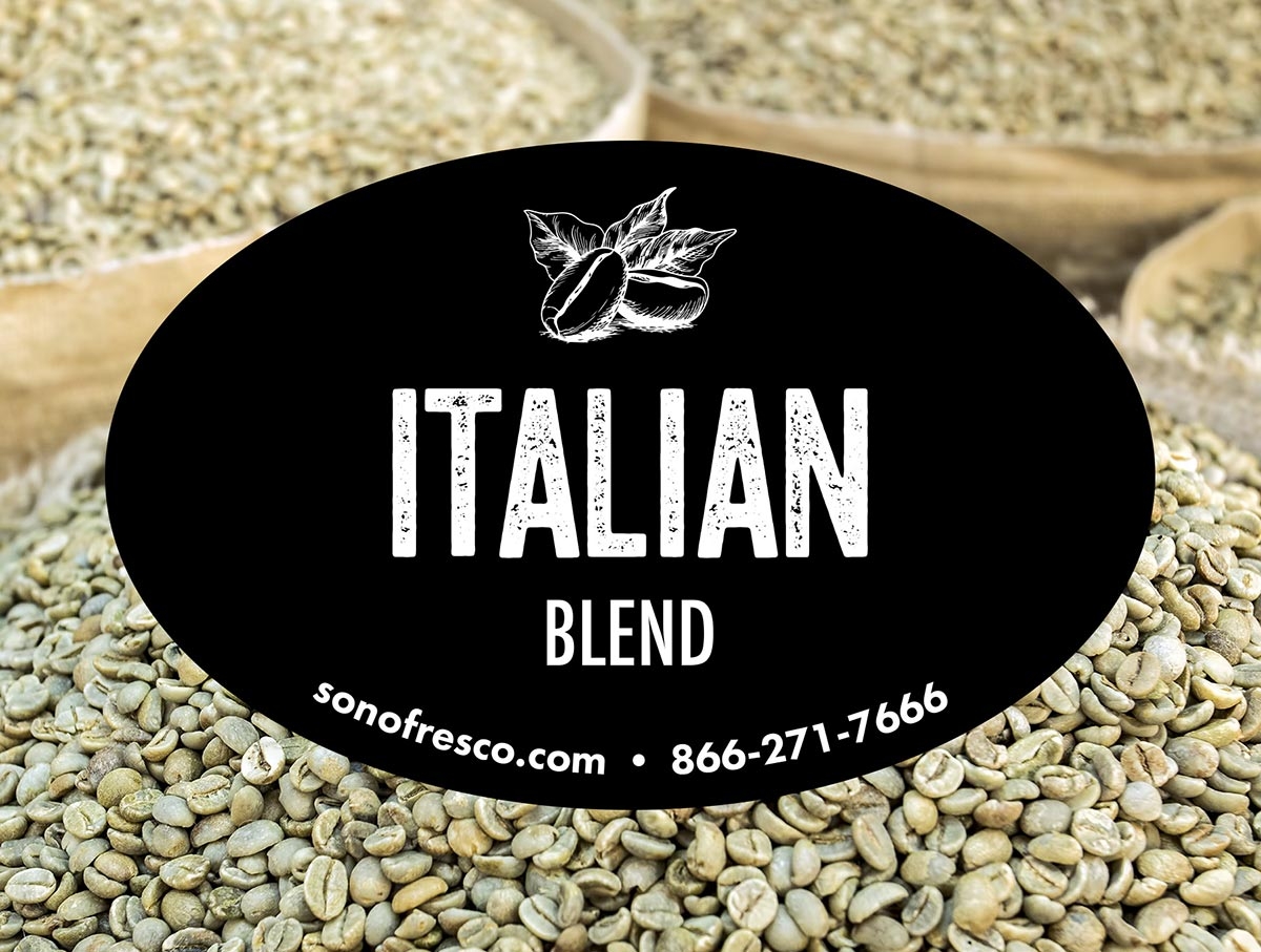 Italian Blend Green Coffee Beans For Sale 20lb 50lb Sonofresco